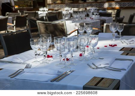 Close Up Detail Of Elegant Served Table Outdoors