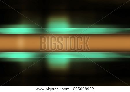 Green And Yellow Blur Banner On A Black Background