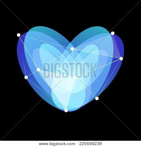 Blue Abstract Glass Heart Symbol With Lines Web And Dots On Black Background, Unusual Isolated Vecto
