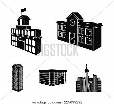 Bank Office, Skyscraper, City Hall Building, College Building. Architectural Structure Set Collectio