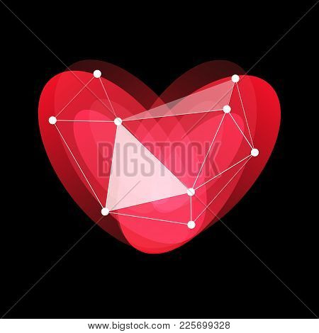 Happy Valentines Day Logo, Red, Glass, Porcelain Heart, Love Holidays, Greeting Internet Card, Vecto