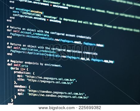 Coding Programmer Abstract Background. Computer Language Script Code On Screen
