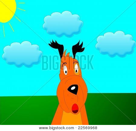 The Afraid dog with black ears on nature by summer. poster