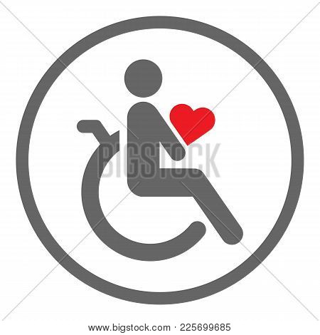 Disabled Person In Wheelchair Holding Red Heart In His Hands. Valentines Day Celebration By Handicap