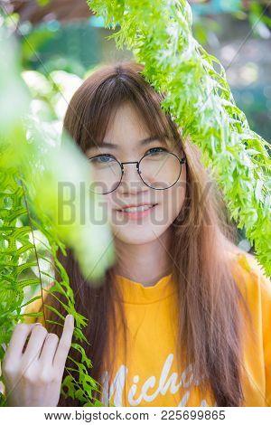 Portrait Asian Thai Teen Cute Lovely Gentle Smile In Fresh Nature.