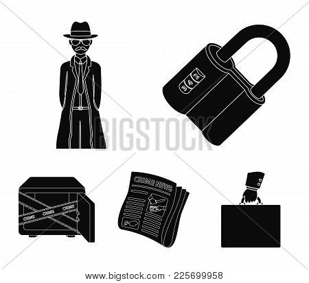 Coded Lock, The Appearance Of The Detective, A Newspaper With Criminal News, A Hacked Safe. Crime An
