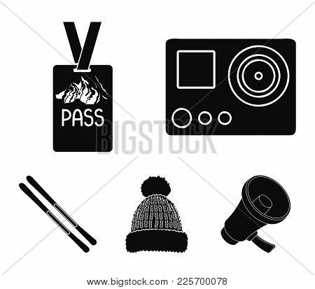Camera Action, A Lifeguard Token, A Warm Hat, Ski. Ski Resort Set Collection Icons In Black Style Ve