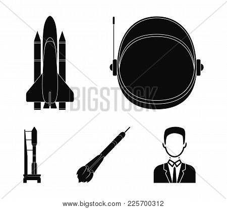 A Spaceship In Space, A Cargo Shuttle, A Launch Pad, An Astronaut's Helmet. Space Technology Set Col