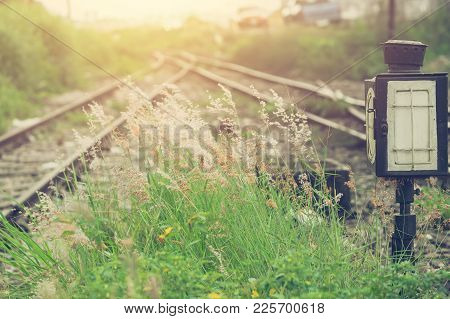 Green Grass With Railway Split Blur Background Beautiful  Light Vintage Color Tone