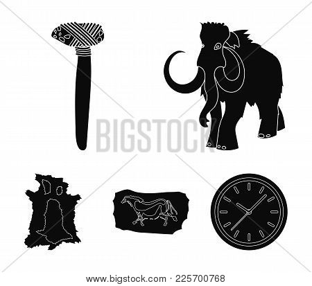 Primitive, Mammoth, Weapons, Hammer .stone Age Set Collection Icons In Black Style Vector Symbol Sto