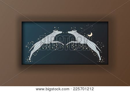 The Picture In The Brown Frame Vector Illustration. Two Wolves Jump. Wild Dogs On The Background Of