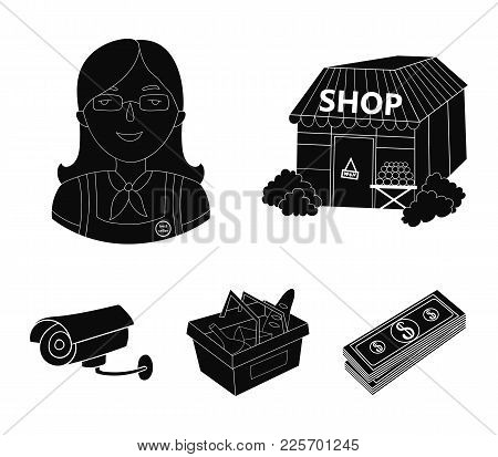 Salesman, Woman, Basket, Plastic .supermarket Set Collection Icons In Black Style Vector Symbol Stoc