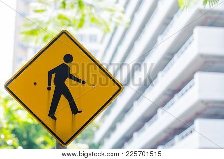 Beware Pedestrian Cross Traffic Sign Banner In The City