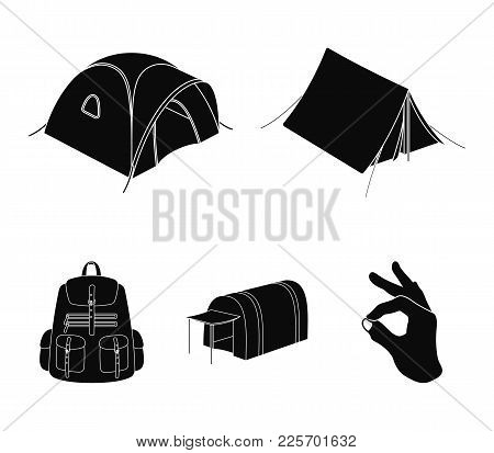 Backpack And Other Kinds Of Tents.tent Set Collection Icons In Black Style Vector Symbol Stock Illus
