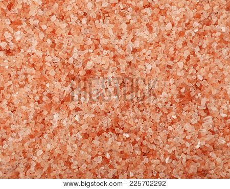 Close Up Background Texture Of Medium Crystals Pink Himalayan Salt, Elevated Top View, Directly Abov
