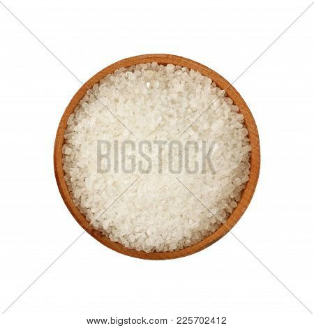 Close Up One Wooden Bowl Full Of White Marine Rock Salt Isolated On White Background, Elevated Top V