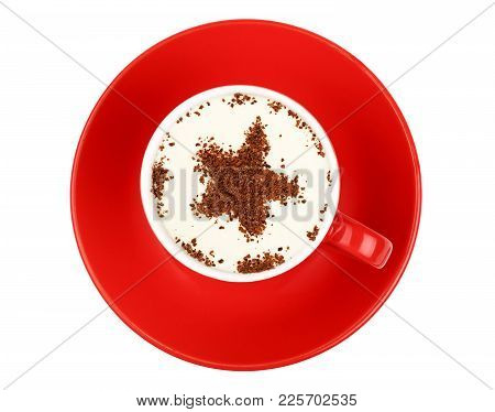 Close Up One Latte Cappuccino Coffee With Star Shaped Chocolate Milk Topping In Red Cup With Saucer