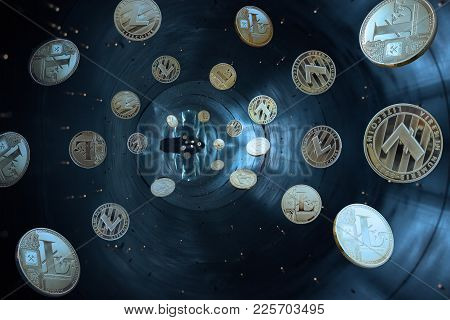 On A Blue Background Are Gold And Silver Coins Of A Virtual Digital Crypto  Currency - Litecoins In