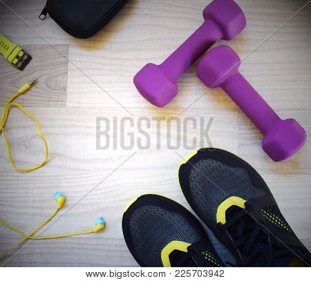 Fitness Accessories. Sports Dumbbells Sneakers Headphones Sports Shoes Watchstrap And Case. Items Fo