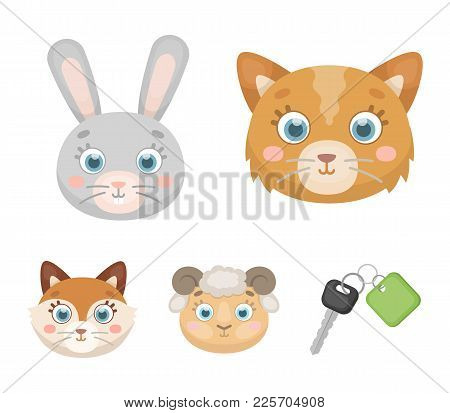 Cat, Rabbit, Fox, Sheep. Animal's Muzzle Set Collection Icons In Cartoon Style Vector Symbol Stock I