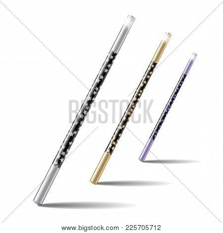 Set Of Magic Wands Isolated On White Background. Vector Illustration