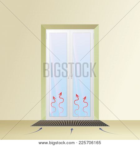 Trench Convector Under The Balcony Door. The Hot Air Flow Is Shown By Arrows. Hvac Vector Illustrati
