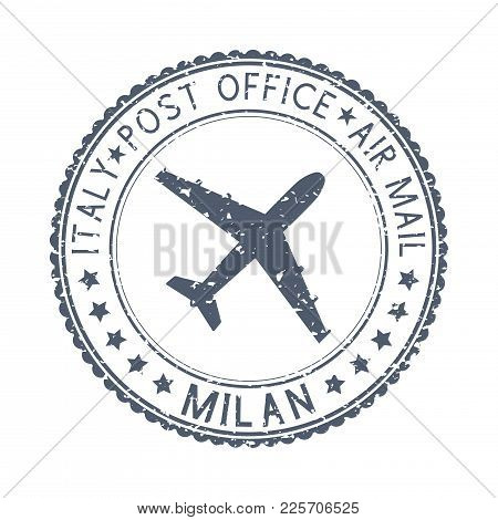 Postmark Milan, Italy. Black Postal Element With Airplane Icon. Vector Illustration Isolated On Whit