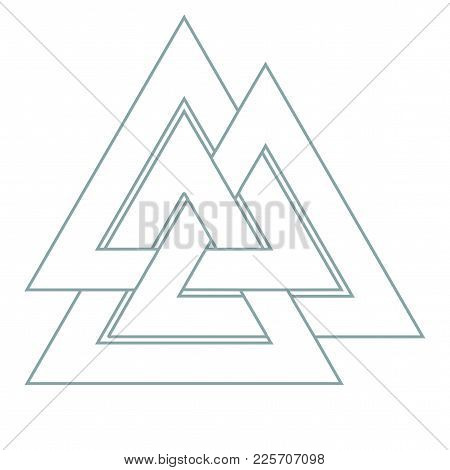 Vector triangle illustration: Valknut, the symbol of Germanic paganism, the sign of god Odin, runic knot or Hrungnir heart. Valknut rune as the symbol of the Germanic peoples. poster