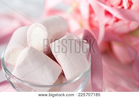 Large Pink And White Marshmallow With Flowers