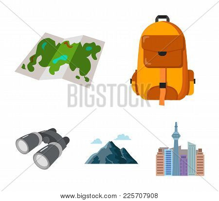 Backpack, Mountains, Map Of The Area, Binoculars. Camping Set Collection Icons In Cartoon Style Vect