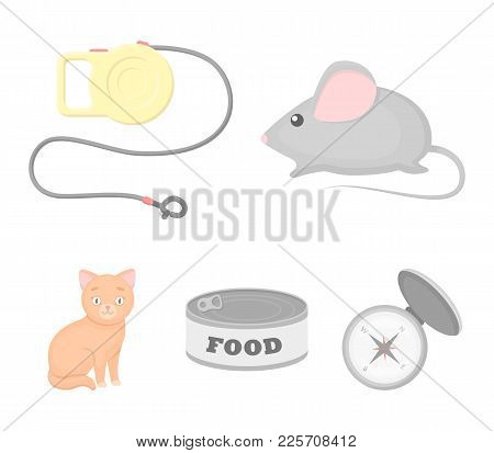 Mouse, Pet Leash, Pet Food, Kitten. Cat Set Collection Icons In Cartoon Style Vector Symbol Stock Il