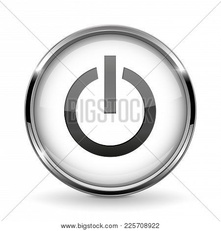 Round 3d Button With Metal Frame. Power Or Standby Icon. Vector 3d Illustration Isolated On White Ba
