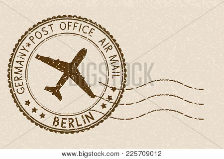 Postal Stamp, Round Brown Postmark With Airplane Icon. Berlin, Germany. Vector Illustration On Beige