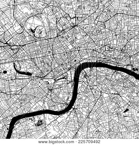 London Downtown Vector Map Monochrome Artprint, Outline Version For Infographic Background, Black St