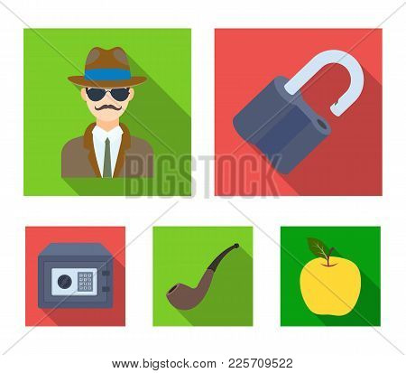 Lock Hacked, Safe, Smoking Pipe, Private Detective.detective Set Collection Icons In Flat Style Vect