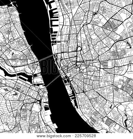 Liverpool Downtown Vector Map Monochrome Artprint, Outline Version For Infographic Background, Black