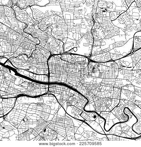 Glasgow Downtown Vector Map Monochrome Artprint, Outline Version For Infographic Background, Black S