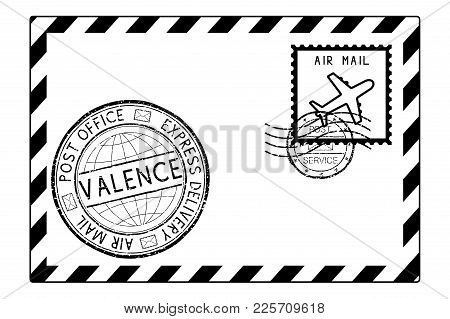 Envelope Black Icon With Postmarks. Valence, Italy. Vector Illustration Isolated On White Background