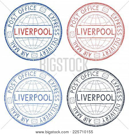 Colored Postal Stamps Liverpool, Uk. Vector Illustration Isolated On White Background