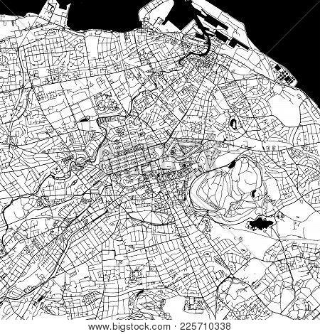 Edinburgh Downtown Vector Map Monochrome Artprint, Outline Version For Infographic Background, Black