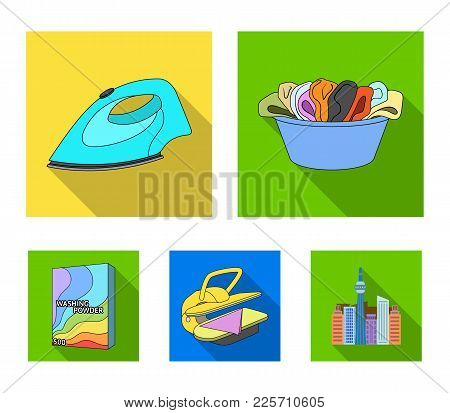 A Bowl With Laundry, Iron, Ironing Press, Washing Powder. Dry Cleaning Set Collection Icons In Flat