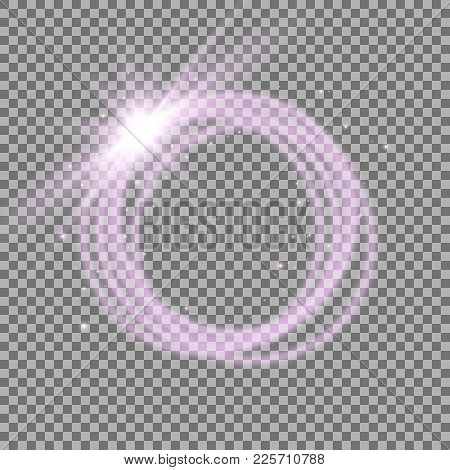 Light Ring With Tracing Effect. Glitter Sparkle Swirl Trail On Transparent Background, Light Effect,