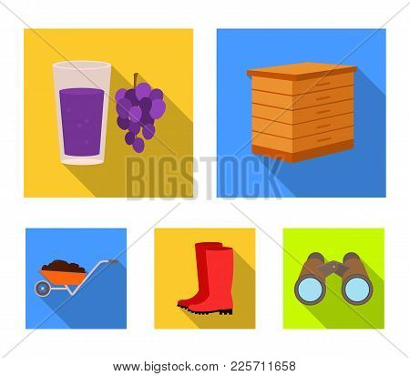 Hive, Grapes, Boots, Wheelbarrow.farm Set Collection Icons In Flat Style Vector Symbol Stock Illustr
