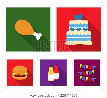 Cake, Ham, Sauce, Burger. Fast Food Set Collection Icons In Flat Style Vector Symbol Stock Illustrat