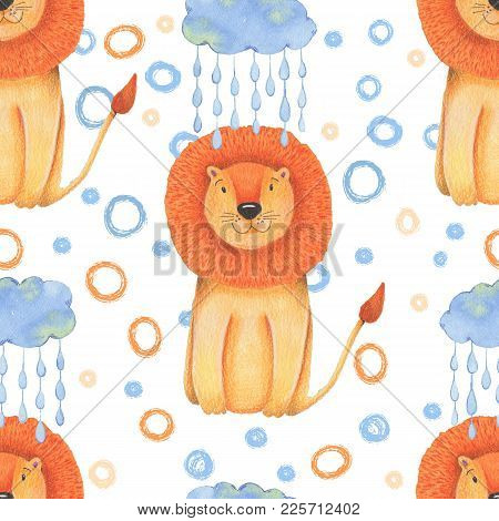 Watercolor Pattern Animal Cute Lion On A White Background. Hand Draw Illustration.
