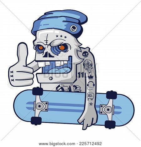 Hipster Blue Cartoon Skull Skater Boy Vector
