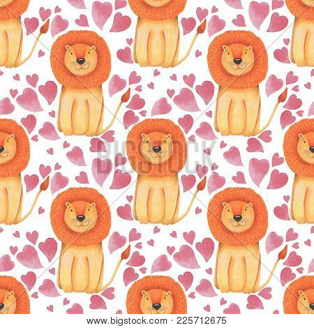 Watercolor Pattern Animal Cute Lion On A White Background. Hand Draw Illustration. Valentine's Print
