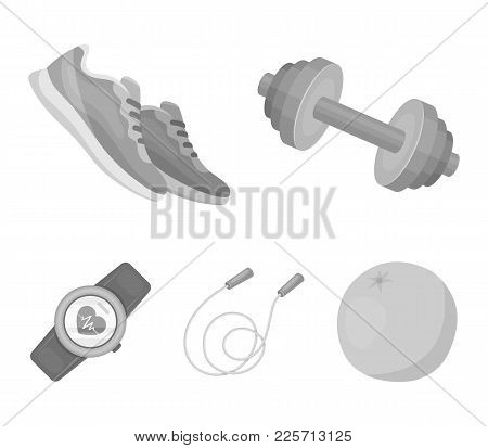 Dumbbell, Rope And Other Equipment For Training.gym And Workout Set Collection Icons In Monochrome S