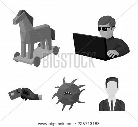Hacker, Hacking, System, Internet .hackers And Hacking Set Collection Icons In Monochrome Style Vect