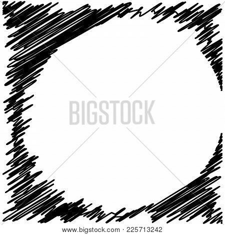 Circle Hatching Grunge Graphite Pencil Background On White Background, Design Element, Lines Hatchin